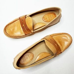 Frye Rebecca Penny Loafer Driving Shoes Camel 6.5